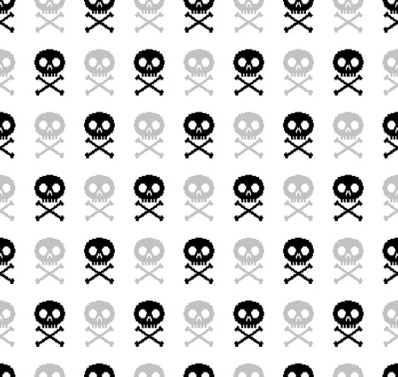 8-bit skull seamless pattern Stock Vector - 18959533