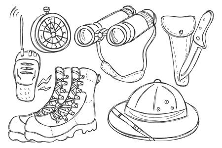 hiking boots: safari equipment doodle