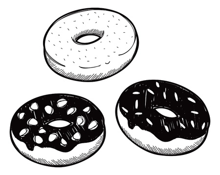 set of sough nut doodle Vector