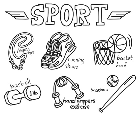sport equipment doodle isolated on white background Vector