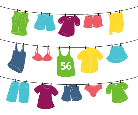 clothespin: various clothes on washing line Illustration