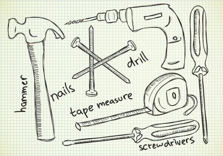 diy: carpenter tools doodle
