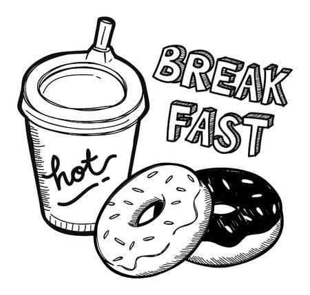 grakfast food doodle Vector