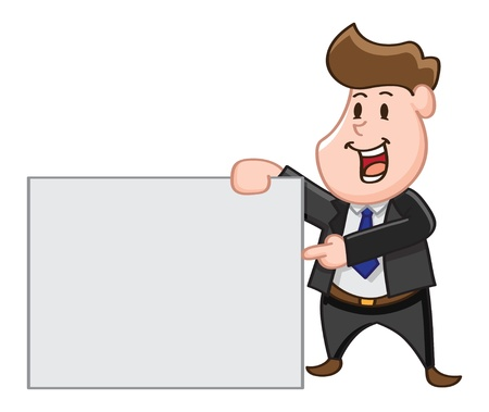 happy business man: cartoon office worker with  copy space Illustration