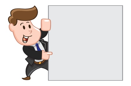 cartoon office worker with  copy space Vectores