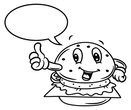 cartoon burger with bubble speech Vector