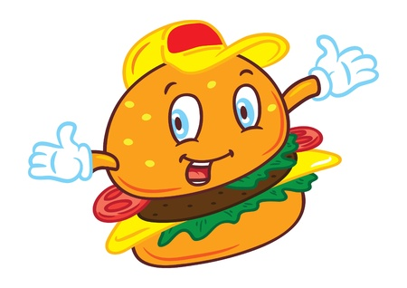 Cartoon smiling hamburger Vector