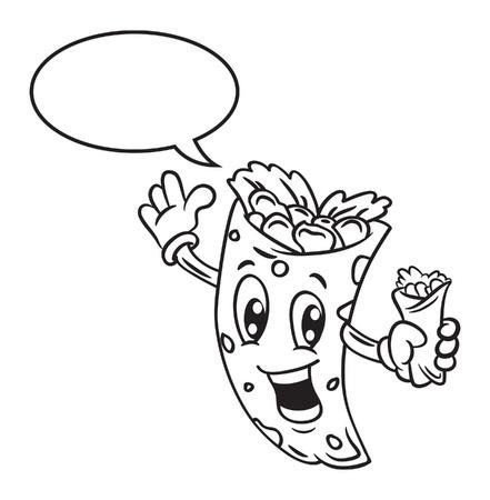 mexico cartoon: Cartoon burrito with bubble speech