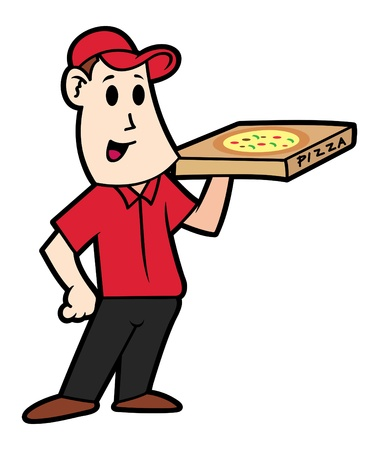 Cartoon pizza deliver
