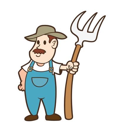 peasant: cartoon farmer Illustration