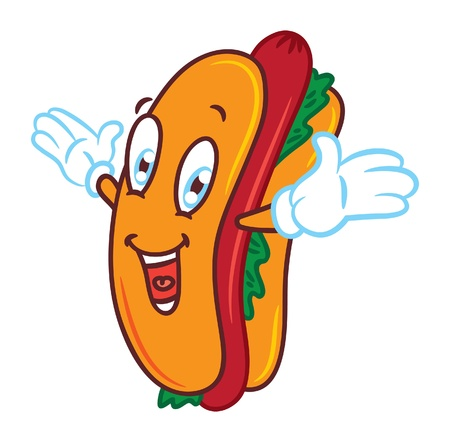 cartoon hotdog with happy expression