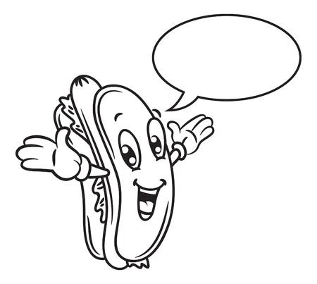 sausage dog: Cartoon hotdog with bubble speech