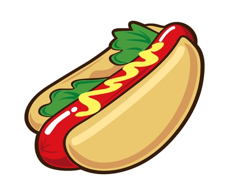 bratwurst: hot dog isolated on white background Illustration