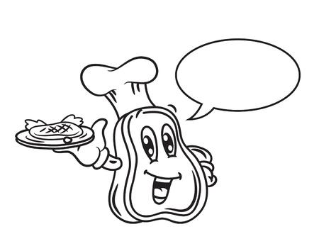 steak plate: Carne de dibujos animados con forma de burbuja
