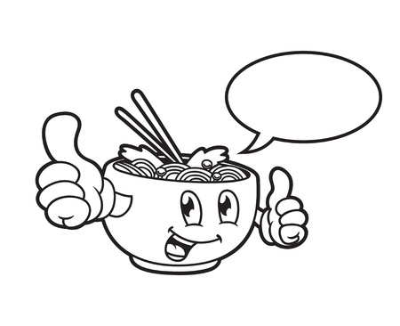 Cartoon noodle with bubble speech Illustration