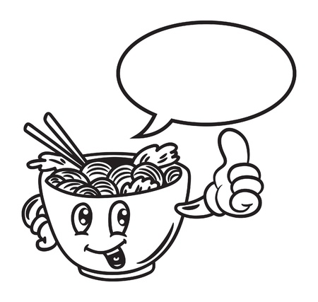 Cartoon noodle with bubble speech Vector