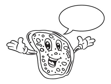 cartoon pizza: Cartoon pizza with bubble speech