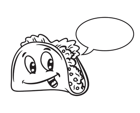 taco: Cartoon tacos with bubble speech Illustration