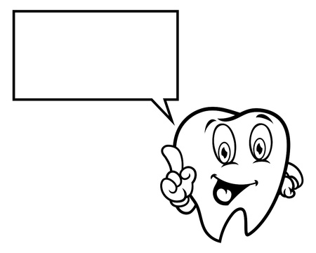 bubble speech: Cartoon tooth with bubble speech Illustration