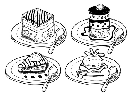 chocolate mousse: Set of dessert in doodle style