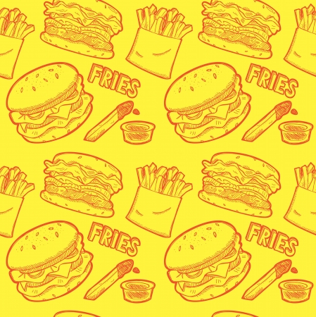 Fast food wrapping paper pattern Vector