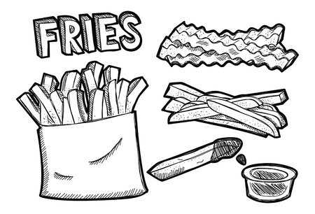 fried: French fries doodle Illustration