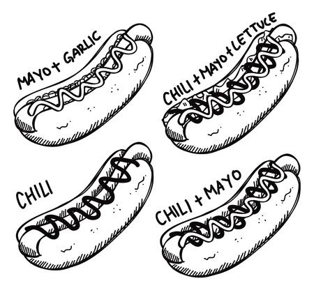 Hotdog doodle Vector