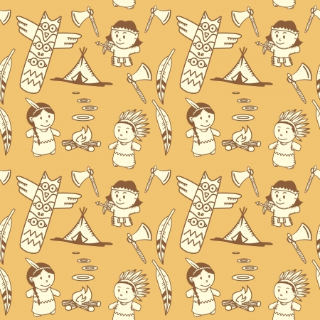 Cartoon indian seamless pattern
