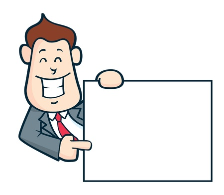 happy employees: Office worker pointing copy space Illustration