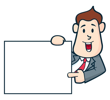 Office worker pointing copy space Vector