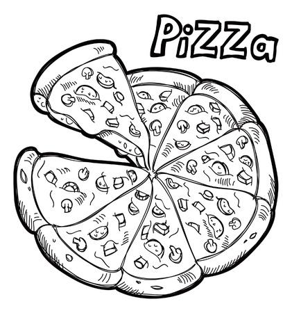 sketchy illustration: Pizza doodle