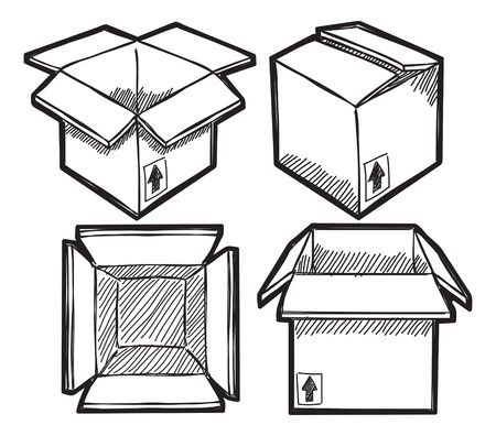 Set of box doodle Illustration