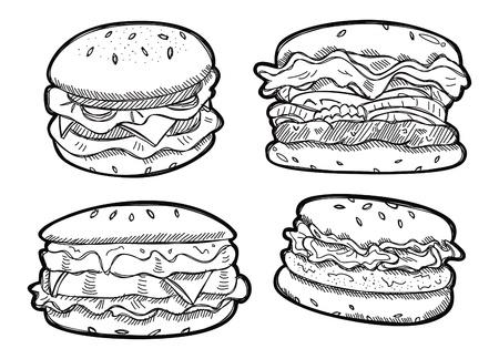 Set hamburger doodle Vectores
