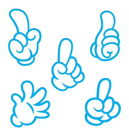 finger pointing up: Set of cartoon hand