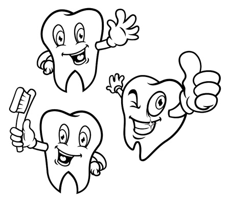 Set of cartoon teeth 向量圖像