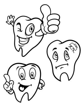 Set of cartoon teeth Ilustração