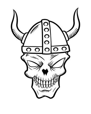 Human Skull And Viking Helmet Vector Illustration Royalty Free ...