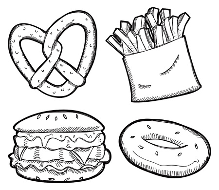 unhealthy food:  set of snack doodle