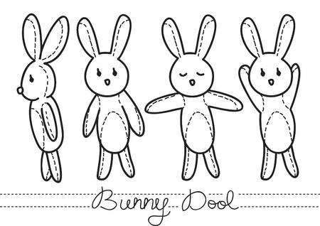 baby girl cartoon: bunny doll doodle