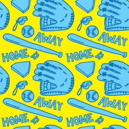 baseball stuff: cartoon baseball stuff seamless pattern