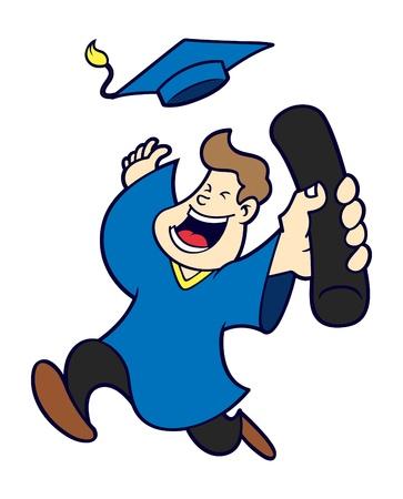 student boy: cartoon graduation Illustration