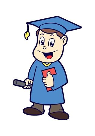 exited: cartoon graduation Illustration