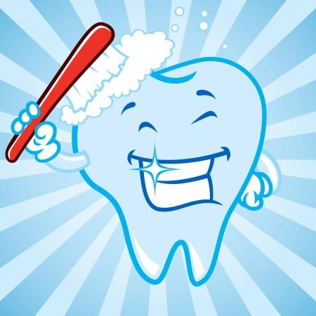cleaning teeth: cartoon teeth with background Illustration