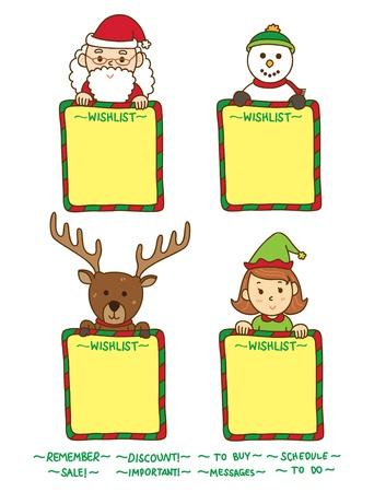 child holding sign: christmas whislist Illustration