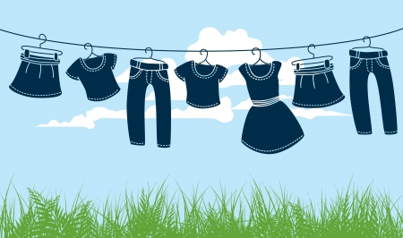 cartoon washing: clothes on washing line against blue sky and green grass  Illustration