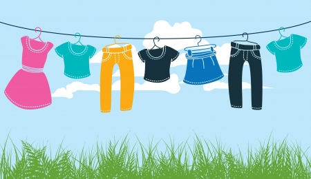 washing clothes: clothes on washing line against blue sky and green grass  Illustration