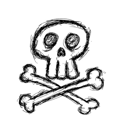 cute skull in doodle style Stock Vector - 21523262