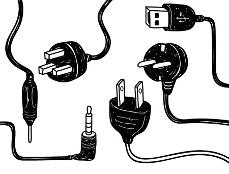 adapter: electricity cord doodle Illustration