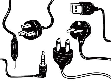 input output: electricity cord doodle Illustration
