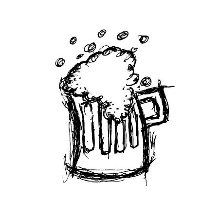 Grunge beer doodle Vector